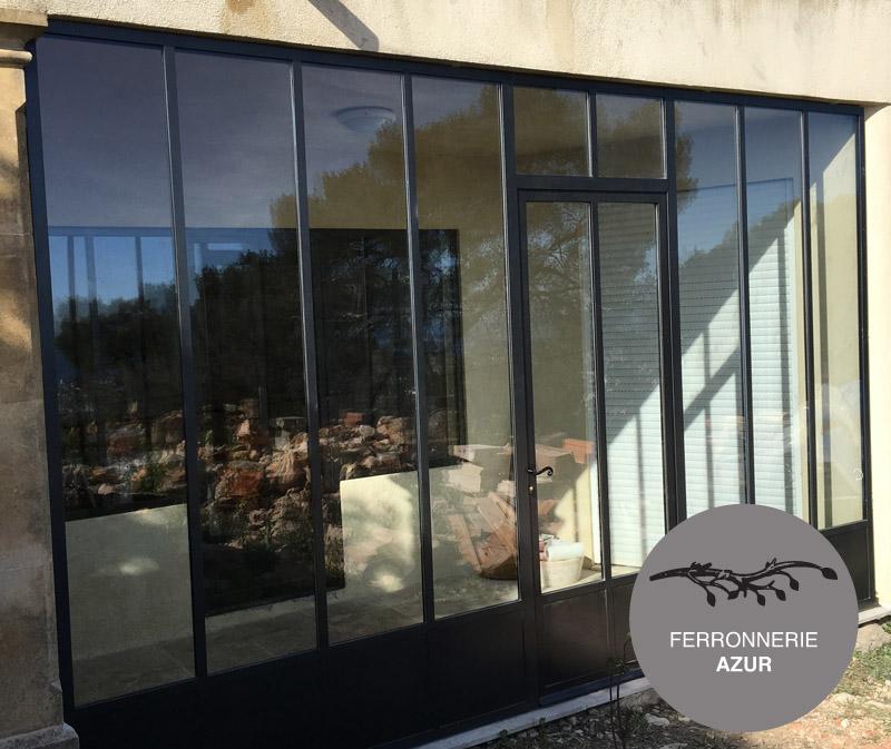 Souvent Porte entrée verre structure metal Atelier artiste NICE 06 DF91