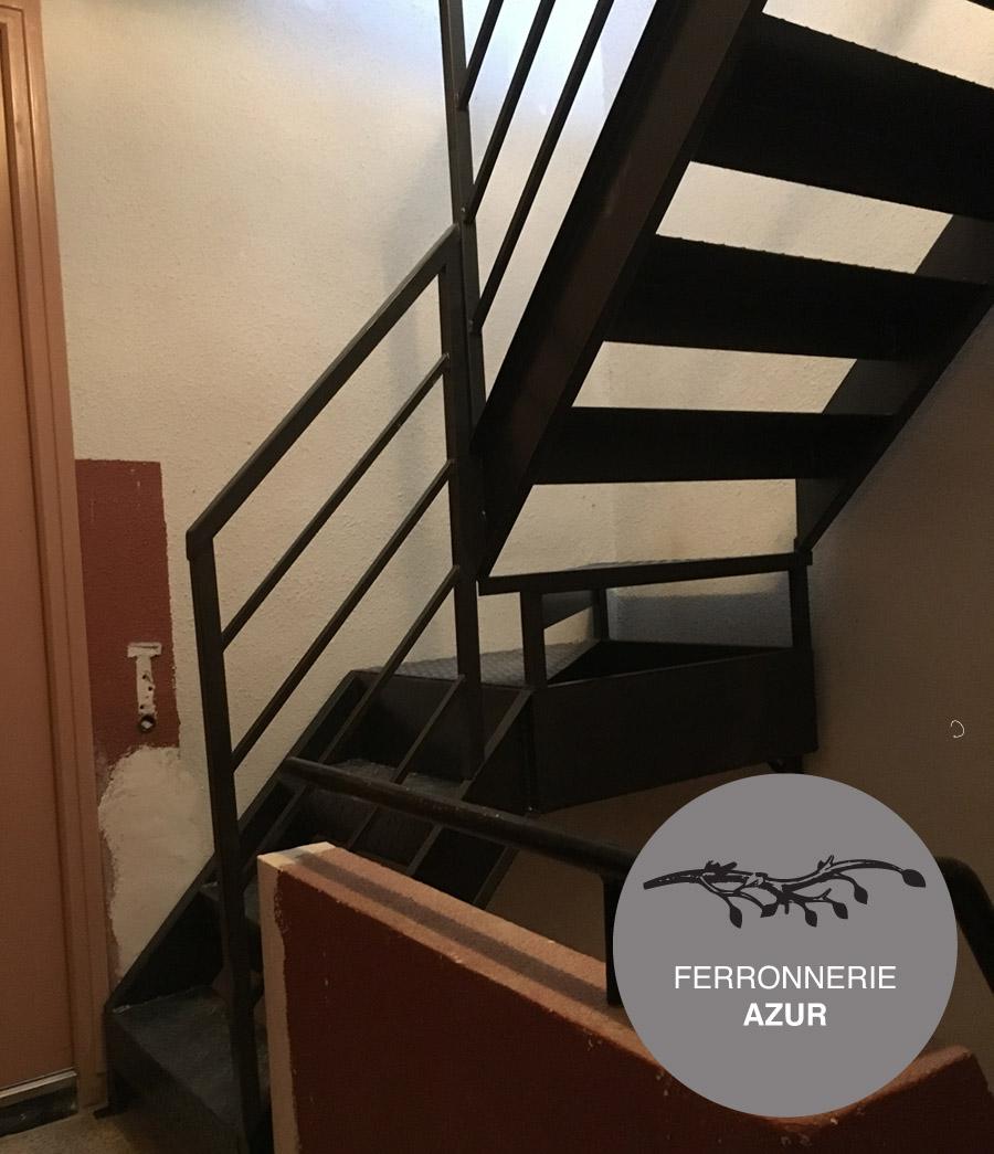 Fabrication d'un escalier en fer plein avec garde corps à Nice 06 occasion