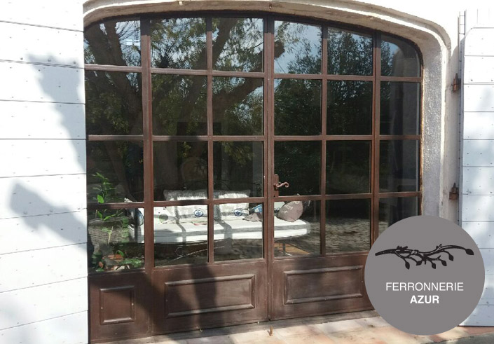 Super porte fenetre fer et verre sur mesure style ancien Nice 06 KQ63