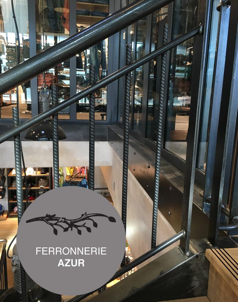 Rampe d'escalier et garde corps en fer style industriel boutique Nice occasion