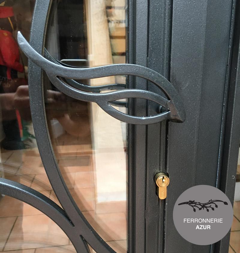 Porte d 39 entr e cintree en fer et verre nice alpes maritimes for Porte entree fer forge villa