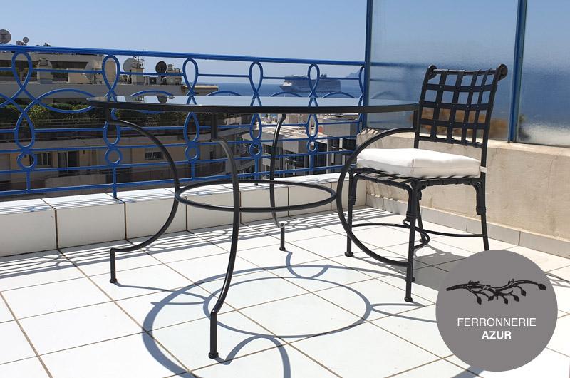 Garde corps en fer forge bleu sur mesure pour terrasse Nice 06 occasion