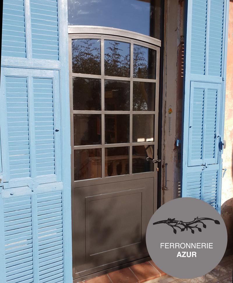 Fabrication porte d'entrée sur mesure en fer plein et verre à Nice 06 occasion